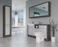 Bathroom Fitted Furniture 1500mm Light Grey Gloss / Mali Wenge D1 With Wall And Ta