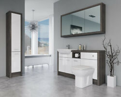 Bathroom Fitted Furniture 1500mm White Gloss / Mali Wenge D1 With Wall And Tall Un