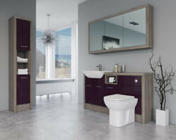 Bathroom Fitted Furniture 1500mm Aubergine Gloss / Driftwood D2 With Wall And Tall