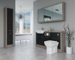 Bathroom Fitted Furniture 1500mm Black Gloss / Driftwood D1 With Wall And Tall Uni