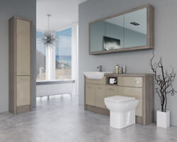 Bathroom Fitted Furniture 1500mm Cappucciono Gloss / Driftwood D1 With Wall And Ta