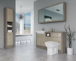 Bathroom Fitted Furniture 1500mm Cappucciono Gloss / Driftwood D2 With Wall And Ta