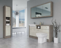 Bathroom Fitted Furniture 1500mm Cream Gloss / Driftwood D2 With Wall And Tall Uni