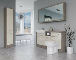 Bathroom Fitted Furniture 1500mm Cream Gloss / Driftwood D1 With Wall And Tall Uni