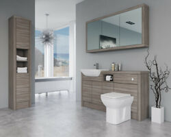 Bathroom Fitted Furniture 1500mm Driftwood D2 With Wall And Tall Unit - Bathcabz