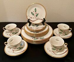 Lenox China Holiday Nouveau Gold Pattern Service For 4 Total 20 Pcs.