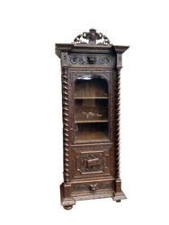Antique French Hunt Bookcase Barley Twist Carvings 19th Century Oak Narrow
