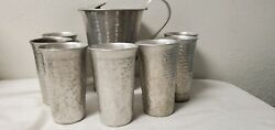 Vintage Gailstyn Hammered Aluminum Ice Lip Pitcher Seven Matching Tumblers