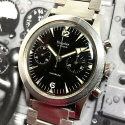 Magalex Nicolet 70s Vintage Military Style Pilots Chronograph Watch Jumbo 38.5mm