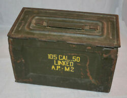 105 Cal .50 Linked A.p-m2 Ammo Box Military Rare Collectible