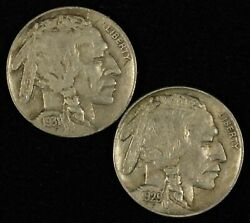 Pair Of 1929 And 1931-s Buffalo Nickels - Free Shipping Usa