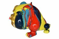 Modern Happy Paint Drops Bulldog Statue Made Of Resin Size 14 X 19 X 10h
