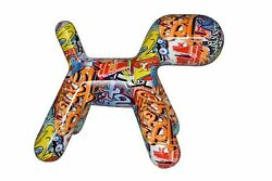 Modern Looking Graffiti Dog Statue Made Of Resin Size 16 X 10 X 14h