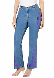 Roamanand039s Womenand039s Plus Size Sequin-embellished Bootcut Jean