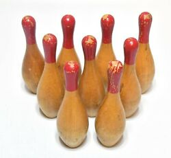 Vintage 9 Wood Bowling Pin Game Home Decor