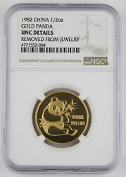 China 1982 1/2 Troy Oz 999 Gold Panda Coin Ngc Unc Key Date First Year Of Issue