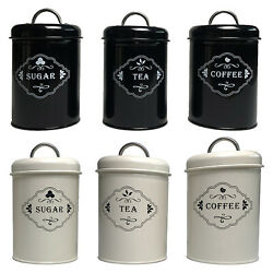 Set Of 3 Metal Coffee Storage Canisters, Tea Jars Pots Containers, Candy Bin Tin