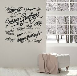 Wall Sticker Vinyl Decal Lettered Holiday Greetings Set Romantic Decor N1450