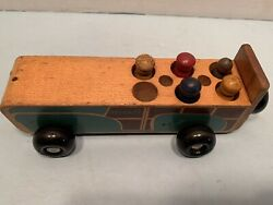 Vintage Early 1950s Holgate Wooden Pull Toy Car With 5 People