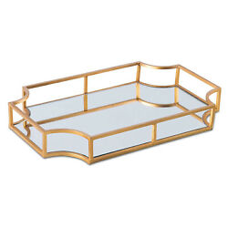 Vintage Gold Vanity Tray With Mirrored Bottom Vanity Organizer For Accent Table