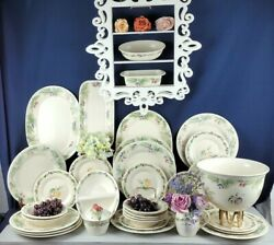 Jamberry By Pfaltzgraff 33 Piece Dinnerware Lot - Green Leaves Cherries And Grape