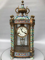 22 Old China Pure Bronze Cloisonne Enamel Western Classical Mechanical Clock
