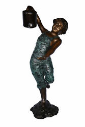 Standing Boy With Watering Can Bronze Statue - Size 15l X 15w X 39h.
