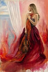 Soraia In Red Painting By Harry Mccormick - Acrylic - Size 24l X 36w X 2h.