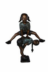 Two Girls Playing Leapfrog Jumping Bronze Statue - Size 30l X 14w X 34h.