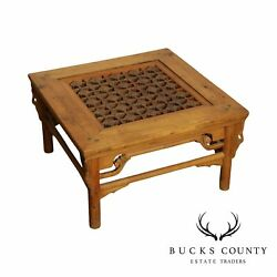 Vintage Asian Hardwood Square Glass Top Coffee Table