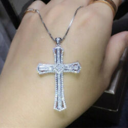 Gorgeous Cross Jewelry Cubic Zirconia 925 Silver Necklaces Pendants Party Gifts C $3.01