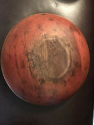Fine Antique Wooden Bowl In Original Red Paint Large Wooden Bowl