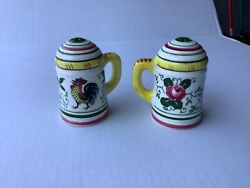 Py Ucagco Rooster And Roses Salt And Pepper Shakers