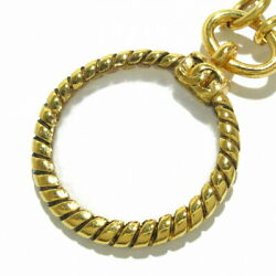 Coco Mark Necklace Loupe/double Chain Gold Clear Metal Material Glass