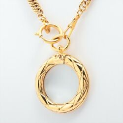 Matelasse Necklace Gp Gold Magnifying Glass