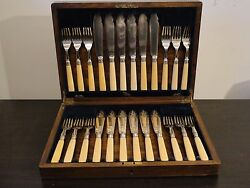 Flatware For 12 Boxed Set Silver Plated And Antique. Circa 1850, English, Marked