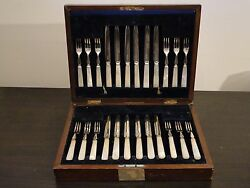 Flatware For 12 Boxed Set Silver Plated And Antique. Circa 1890, English, Marked