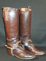 Wwi Us Army Officers' Brown Leather Riding Boots And Spurs Cavalry Scarce Original
