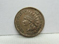 1859 Indian Head Penny - Almost Uncirculated Condition Bn - 4