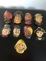 Vintage Bossons Chalkware Head Wall Plaque Lot Of 9