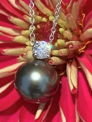 And Co 18k White Gold Tahitian Pearl Diamond .17 Carat Necklace Receipt