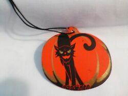 Dennison Halloween Score/tally Card-black Cat W/gold On Front-blk Sting Attached