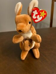 1996 Ty Beanie Baby Pouch The Kangaroo Rare Retired Mint W/ Tush Tags Stamp 410