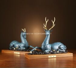 Pair 17and039and039 Bronze Home Art Decoration Good Fortune Auspicious Animal Deer Statue