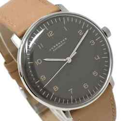 Junghans Men's Watch Automatic Max Bill Black Dial Leather Belt 38 Mm Ss New