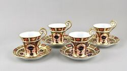 Antique Royal Crown Derby China Old Imari 1128 Chocolate Cups And Saucers X 4