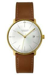 Junghans Max Bill Automatic Men's Watch Silver Dial X Brown Leather Belt New