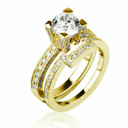 Real 2 Carat Round Cut And Accents Diamond 18k Yellow Gold Bridal Ring And Band Set