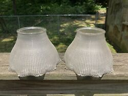 Pair Of Antique Waffle / Crosscut Signed Holophane Glass Light Shades 3 1/4andrdquo F