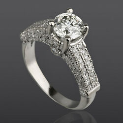 Accents Real Diamond Round Ring 2.08 Ct 4 Prong Si1 14k White Gold Anniversary
